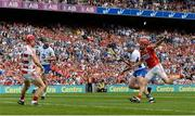 13 August 2017; Austin Gleeson of Waterford, supported by team-mate Michael Walsh, left, scores his side's third goal despite the efforts of Cork's Anthony Nash, left, and Bill Cooper during the GAA Hurling All-Ireland Senior Championship Semi-Final match between Cork and Waterford at Croke Park in Dublin. Photo by Piaras Ó Mídheach/Sportsfile