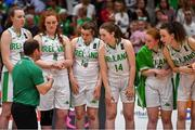 13 August 2017; Ireland coach Tommy O'Mahony has a word with his players after the FIBA U18 Women's European Basketball Championships Final between Ireland and Germany at the National Basketball Arena in Tallaght, Dublin. Photo by Brendan Moran/Sportsfile