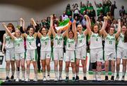 13 August 2017; The Ireland team step up to receive their silver medals after the FIBA U18 Women's European Basketball Championships Final between Ireland and Germany at the National Basketball Arena in Tallaght, Dublin. Photo by Brendan Moran/Sportsfile