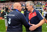 13 August 2017; Waterford manager Derek McGrath, left, shakes hands with Cork manager Kieran Kingston after the GAA Hurling All-Ireland Senior Championship Semi-Final match between Cork and Waterford at Croke Park in Dublin. Photo by Brendan Moran/Sportsfile