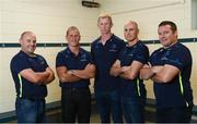 14 August 2017; Ahead of the Bank of Ireland Pre Season Friendly on Friday against Gloucester Rugby in St. Mary's College RFC, kick off at 7.30pm, the Leinster Rugby coaching team were in St. Mary's College RFC for a media event ahead of the game and ahead of the new Guinness PRO14 and Champions Cup season. Pictured are coaches, from left, kicking coach Emmett Farrell, senior coach Stuart Lancaster, head coach Leo Cullen, backs coach Girvan Dempsey and scrum coach John Fogarty. Photo by Ramsey Cardy/Sportsfile