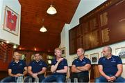 14 August 2017; Ahead of the Bank of Ireland Pre Season Friendly on Friday against Gloucester Rugby in St. Mary's College RFC, kick off at 7.30pm, the Leinster Rugby coaching team were in St. Mary's College RFC for a media event ahead of the game and ahead of the new Guinness PRO14 and Champions Cup season. Pictured are coaches, from left, backs coach Girvan Dempsey, scrum coach John Fogarty, head coach Leo Cullen, senior coach Stuart Lancaster and kicking coach Emmett Farrell. Photo by Ramsey Cardy/Sportsfile