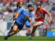 13 August 2017; Seán Currie of Dublin in action against Ger Millerick of Cork during the Electric Ireland GAA Hurling All-Ireland Minor Championship Semi-Final match between Dublin and Cork at Croke Park in Dublin. Photo by Brendan Moran/Sportsfile
