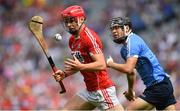 13 August 2017; Sean O'Leary Hayes of Cork in action against Seán Currie of Dublin during the Electric Ireland GAA Hurling All-Ireland Minor Championship Semi-Final match between Dublin and Cork at Croke Park in Dublin. Photo by Brendan Moran/Sportsfile