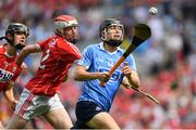 13 August 2017; Seán Currie of Dublin in action against Conor O'Callaghan of Cork during the Electric Ireland GAA Hurling All-Ireland Minor Championship Semi-Final match between Dublin and Cork at Croke Park in Dublin. Photo by Brendan Moran/Sportsfile