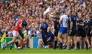 13 August 2017; Luke Meade of Cork adjusts his helmet after an incident with Austin Gleeson of Waterford, right, during the GAA Hurling All-Ireland Senior Championship Semi-Final match between Cork and Waterford at Croke Park in Dublin. Photo by Piaras Ó Mídheach/Sportsfile