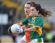 12 August 2017; Sarah Houlihan of Kerry in action against  Clodagh McCambridge of Armagh during the TG4 Ladies Football All-Ireland Senior Championship Quarter-Final match between Kerry and Armagh at Nowlan Park in Kilkenny. Photo by Matt Browne/Sportsfile
