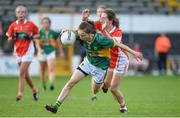 12 August 2017; Jodyn Lucey of Kerry in action against Niamh Reel of Armagh during the TG4 Ladies Football All-Ireland Senior Championship Quarter-Final match between Kerry and Armagh at Nowlan Park in Kilkenny. Photo by Matt Browne/Sportsfile