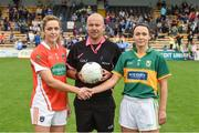 12 August 2017; Referee Jonathan Murphy with Caroline O'Hanlon captain of Armagh and Caroline Kelly captain of Kerry during the TG4 Ladies Football All-Ireland Senior Championship Quarter-Final match between Kerry and Armagh at Nowlan Park in Kilkenny. Photo by Matt Browne/Sportsfile