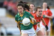12 August 2017; Fiadhna Tangney of Kerry in action against Tiarna Grimes of Armagh during the TG4 Ladies Football All-Ireland Senior Championship Quarter-Final match between Kerry and Armagh at Nowlan Park in Kilkenny. Photo by Matt Browne/Sportsfile