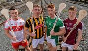 15 August 2017; Ciaran Steele of Derry, Conor Delaney of Kilkenny Cian Lynch of Limerick and Thomas Monaghan of Galway were in Dublin today to look ahead to this weekend's Bord Gáis Energy GAA Hurling U-21 All-Ireland semi-finals.  The double header will take place in Semple Stadium, Thurles on Saturday afternoon, with Derry and Kilkenny throwing in at 4.00pm and Galway and Limerick commencing at 6.00pm. Fans unable to attend the game can catch all the action live on TG4 or can follow #HurlingToTheCore online. Photo by Sam Barnes/Sportsfile