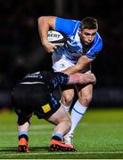 3 November 2017; Jordan Larmour of Leinster is tackled by Nick Grigg of Glasgow Warriors during the Guinness PRO14 Round 8 match between Glasgow Warriors and Leinster at Scotstoun in Glasgow, Scotland. Photo by Ramsey Cardy/Sportsfile