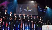 3 November 2017; Players from the PwC All Star Hurling Team of the Year, from left, Galway hurler Gearóid McInerney, Cork hurler Mark Coleman, Waterford hurler Jamie Barron, Galway hurler David Burke, Waterford hurler Kevin Moran, Galway hurler Joe Canning, Waterford hurler Michael Walsh, Galway hurler Conor Whelan, Galway hurler Conor Cooney and Cork hurler Patrick Horgan during the PwC All Stars 2017 at the Convention Centre in Dublin. Photo by Brendan Moran/Sportsfile