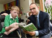 15 August 2017; Republic of Ireland manager Martin O'Neill with Hayden McLafferty, age 13, from Clondalkin, Co Dublin, during a visit to the LauraLynn Children's Hospice at Leopardstown Road in Dublin. Photo by David Maher/Sportsfile