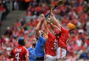 13 August 2017; Mark Grogan of Dublin competes for possession with Sean O'Leary Hayes and James Keating of Cork during the Electric Ireland GAA Hurling All-Ireland Minor Championship Semi-Final match between Dublin and Cork at Croke Park in Dublin. Photo by Brendan Moran/Sportsfile