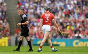 13 August 2017; Damien Cahalane of Cork is shown the red card by referee James Owens after picking up a second yellow card during the GAA Hurling All-Ireland Senior Championship Semi-Final match between Cork and Waterford at Croke Park in Dublin. Photo by Piaras Ó Mídheach/Sportsfile