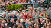 13 August 2017; Damien Cahalane of Cork, centre, sits among the substitutes in the Hogan Stand after being sent off by referee James Owens for a second bookable offence during the GAA Hurling All-Ireland Senior Championship Semi-Final match between Cork and Waterford at Croke Park in Dublin. Photo by Piaras Ó Mídheach/Sportsfile