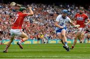 13 August 2017; Austin Gleeson of Waterford gets past Mark Coleman, left, and Mark Ellis of Cork on his way to scoring his side's third goal during the GAA Hurling All-Ireland Senior Championship Semi-Final match between Cork and Waterford at Croke Park in Dublin. Photo by Piaras Ó Mídheach/Sportsfile