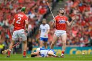 13 August 2017; Damien Cahalane of Cork reacts after fouling Jamie Barron of Waterford, bottom, for which he was sent off for a second bookable offence by referee James Owens during the GAA Hurling All-Ireland Senior Championship Semi-Final match between Cork and Waterford at Croke Park in Dublin. Photo by Piaras Ó Mídheach/Sportsfile