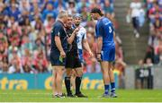 13 August 2017; Referee James Owens in conversation with Cork selector Diarmuid O'Sullivan, left, and Waterford selector Dan Shanahan, as Waterford's Michael Walsh looks on during the GAA Hurling All-Ireland Senior Championship Semi-Final match between Cork and Waterford at Croke Park in Dublin. Photo by Piaras Ó Mídheach/Sportsfile