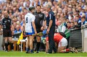 13 August 2017; Cork manager Kieran Kingston in conversation with Jamie Barron of Waterford as linesman Brian Gavin looks on during the GAA Hurling All-Ireland Senior Championship Semi-Final match between Cork and Waterford at Croke Park in Dublin. Photo by Piaras Ó Mídheach/Sportsfile