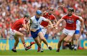13 August 2017; Michael Walsh of Waterford in action against Cork's, from left, Mark Coleman, Stephen McDonnell, and Mark Ellis during the GAA Hurling All-Ireland Senior Championship Semi-Final match between Cork and Waterford at Croke Park in Dublin. Photo by Piaras Ó Mídheach/Sportsfile
