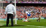 13 August 2017; Cork goalkeeper Anthony Nash watches the ball hit the hit as Waterford's Austin Gleeson, second from left, scores his side's third goal, as Cork's Bill Cooper, left, and Waterford's Michael Walsh look on during the GAA Hurling All-Ireland Senior Championship Semi-Final match between Cork and Waterford at Croke Park in Dublin. Photo by Piaras Ó Mídheach/Sportsfile