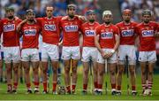 13 August 2017; Cork players, from left, Seamus Harnedy, Colm Spillane, Stephen McDonnell, Mark Ellis, Conor Lehane, Patrick Horgan, Bill Cooper and Mark Coleman stand for the National Anthem before the GAA Hurling All-Ireland Senior Championship Semi-Final match between Cork and Waterford at Croke Park in Dublin. Photo by Piaras Ó Mídheach/Sportsfile
