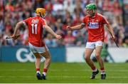 13 August 2017; Cork's Aaron Walsh, right, and Liam O'Shea celebrate after the Electric Ireland GAA Hurling All-Ireland Minor Championship Semi-Final match between Dublin and Cork at Croke Park in Dublin. Photo by Piaras Ó Mídheach/Sportsfile