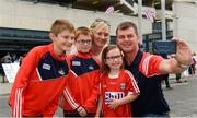13 August 2017; Cork supporters, from left, Cormac, age 9, Cathal, age 6, Clodagh, age 4, with parents Olivia and Anthony Hogan, from Redbarn, Youghal, before the GAA Hurling All-Ireland Senior Championship Semi-Final match between Cork and Waterford at Croke Park in Dublin. Photo by Piaras Ó Mídheach/Sportsfile
