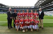 13 August 2017; Uachtarán Chumann Lúthchleas Gael Aogán Ó Fearghaíl, President of the Camogie Association Catherine Neary, President of the INTO John Boyle, with the Cork team, back row, left to right, Cian Ó Gadhra, Scoil na gCeithre Máistrí, Áth Luain, Co Westmeath, Paddy Keane, Leitrim NS, Co Leitrim, Cian Ó Céileacháin, Gaelscoil Chionn tSáile, Co Cork, Michael Gavin, Ballybrown National School, Co Limerick, Johnny Meares, Ballyforan NS, Co Roscommon, front row, left to right, Daithí Colton, Gaelscoil Uí Néill, Co Tyrone, Robert Ó Ceallaigh Loinsigh, Gaelscoil Chnoc na Rí, Co Sligo, Tadhg Dowdall, SN Muire na nGael, Dundalk, Co Louth, Seán Cooney, Barntown NS, Co Wexford, Oran Tohill, St Johns Primary School, Co Derry, ahead of the INTO Cumann na mBunscol GAA Respect Exhibition Go Games at Galway v Tipperary - GAA Hurling All-Ireland Senior Championship Semi-Final at Croke Park in Dublin. Photo by Daire Brennan/Sportsfile