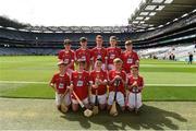 13 August 2017; The Cork team, back row, left to right, Cian Ó Gadhra, Scoil na gCeithre Máistrí, Áth Luain, Co Westmeath, Paddy Keane, Leitrim NS, Co Leitrim, Cian Ó Céileacháin, Gaelscoil Chionn tSáile, Co Cork, Michael Gavin, Ballybrown National School, Co Limerick, Johnny Meares, Ballyforan NS, Co Roscommon, front row, left to right, Daithí Colton, Gaelscoil Uí Néill, Co Tyrone, Robert Ó Ceallaigh Loinsigh, Gaelscoil Chnoc na Rí, Co Sligo, Tadhg Dowdall, SN Muire na nGael, Dundalk, Co Louth, Seán Cooney, Barntown NS, Co Wexford, Oran Tohill, St Johns Primary School, Co Derry, ahead of the INTO Cumann na mBunscol GAA Respect Exhibition Go Games at Galway v Tipperary - GAA Hurling All-Ireland Senior Championship Semi-Final at Croke Park in Dublin. Photo by Daire Brennan/Sportsfile