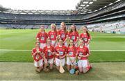 13 August 2017; The Cork team, back row, left to right, Caoimhe Mulvey, Cohehill NS, Co Longford, Caoimhe Murphy, Kilmeen NS, Clonakilty, Co Cork, Alison Healy, Rathcoffey NS, Co Kildare, Niamh Gentleman, Glenderry NS, Co Kerry, front row, left to right, Elaine Frawley, Bruree NS, Co Limerick, Amy McMahon, Scoil Seanáin Naofa, Clonlara, Co Clare, Lauren East, St Aiden's NS, Kilmanagh, Co Kilkenny, Amy O'Loughlin, Ard Fhearta NS, Co Kerry, Blaithin Shields, St Patrick's School Hilltown, Newry, Co Down, Orlaith Beagan, Foley Primary School, Tassagh, Co Armagh, ahead of the INTO Cumann na mBunscol GAA Respect Exhibition Go Games at Galway v Tipperary - GAA Hurling All-Ireland Senior Championship Semi-Final at Croke Park in Dublin. Photo by Daire Brennan/Sportsfile