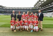 13 August 2017; Uachtarán Chumann Lúthchleas Gael Aogán Ó Fearghaíl, President of the Camogie Association Catherine Neary, President of the INTO John Boyle, with the Cork team, back row, left to right, Caoimhe Mulvey, Cohehill NS, Co Longford, Caoimhe Murphy, Kilmeen NS, Clonakilty, Co Cork, Alison Healy, Rathcoffey NS, Co Kildare, Niamh Gentleman, Glenderry NS, Co Kerry, front row, left to right, Elaine Frawley, Bruree NS, Co Limerick, Amy McMahon, Scoil Seanáin Naofa, Clonlara, Co Clare, Lauren East, St Aiden's NS, Kilmanagh, Co Kilkenny, Amy O'Loughlin, Ard Fhearta NS, Co Kerry, Blaithin Shields, St Patrick's School Hilltown, Newry, Co Down, Orlaith Beagan, Foley Primary School, Tassagh, Co Armagh, ahead of the INTO Cumann na mBunscol GAA Respect Exhibition Go Games at Galway v Tipperary - GAA Hurling All-Ireland Senior Championship Semi-Final at Croke Park in Dublin. Photo by Daire Brennan/Sportsfile