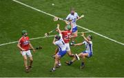 13 August 2017; Séamus Harnedy, left, and Michael Cahalane of Cork in action against Waterford players, left to right, Noel Connors, Philip Mahony, and Darragh Fives during the GAA Hurling All-Ireland Senior Championship Semi-Final match between Cork and Waterford at Croke Park in Dublin. Photo by Daire Brennan/Sportsfile