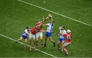 13 August 2017; Waterford players, left to right, Philip Mahony, Darragh Fives, and Noel Connors in action against Cork players, left to right, Séamus Harnedy, Alan Cadogan, and Patrick Horgan during the GAA Hurling All-Ireland Senior Championship Semi-Final match between Cork and Waterford at Croke Park in Dublin. Photo by Daire Brennan/Sportsfile