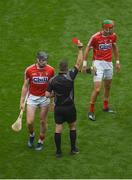 13 August 2017; Damien Cahalane of Cork receives a red card from referee James Owens during the GAA Hurling All-Ireland Senior Championship Semi-Final match between Cork and Waterford at Croke Park in Dublin. Photo by Daire Brennan/Sportsfile