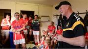 15 August 2017; Davy Russell's Best manager Brian Cody in the dressing room before the sixth annual Hurling for Cancer Research game, a celebrity hurling match in aid of the Irish Cancer Society in St Conleth's Park, Newbridge. The event, organised by legendary racehorse trainer Jim Bolger and National Hunt jockey Davy Russell, has raised €540,000 to date to fund the Irish Cancer Society's innovative cancer research projects. St. Conleth's Park, Newbridge, Co Kildare. Photo by Piaras Ó Mídheach/Sportsfile