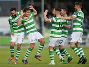 15 August 2017; David McAllister of Shamrock Rovers, second from left, celebrates with team-mates David Webster, left, Brandon Miele, James Doona, and Lee Grace after scoring his side's first goal during the SSE Airtricity League Premier Division match between Limerick FC and Shamrock Rovers at Market's Field in Limerick. Photo by Diarmuid Greene/Sportsfile