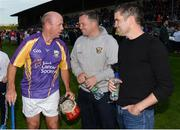 15 August 2017; Peter Canavan, former Tyrone hurler, Davy Fitzgerald, Wexford manager, and Bernard Dunne, IABA High Performance Director at the sixth annual Hurling for Cancer Research game, a celebrity hurling match in aid of the Irish Cancer Society in St Conleth's Park, Newbridge. The event, organised by legendary racehorse trainer Jim Bolger and National Hunt jockey Davy Russell, has raised €540,000 to date to fund the Irish Cancer Society's innovative cancer research projects. The final score was: JJim Bolger's Best: 7-21, Davy Russell's Stars 8-13. St. Conleth's Park, Newbridge, Co Kildare.  Photo by Piaras Ó Mídheach/Sportsfile *** NO REPRODUCTION FEE **