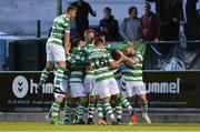 15 August 2017; Ronan Finn of Shamrock Rovers, second from right, celebrates with team-mates after scoring his side's second goal during the SSE Airtricity League Premier Division match between Limerick FC and Shamrock Rovers at Market's Field in Limerick. Photo by Diarmuid Greene/Sportsfile