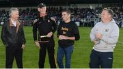 15 August 2017; Attendees, from left, Jim Bolger, trainer, Brian Cody, Kilkenny hurling manager, Bernard Dunne, IABA High Performance Director and Davy Fitzgerald, Wexford manager at the sixth annual Hurling for Cancer Research game, a celebrity hurling match in aid of the Irish Cancer Society in St Conleth's Park, Newbridge. The event, organised by legendary racehorse trainer Jim Bolger and National Hunt jockey Davy Russell, has raised €540,000 to date to fund the Irish Cancer Society's innovative cancer research projects. The final score was: Jim Bolger's Best: 7-21, Davy Russell's Stars 8-13. St. Conleth's Park, Newbridge, Co Kildare.  Photo by Piaras Ó Mídheach/Sportsfile