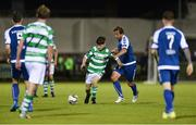15 August 2017; Aaron Bolger of Shamrock Rovers in action against Rodrigo Tosi of Limerick FC during the SSE Airtricity League Premier Division match between Limerick FC and Shamrock Rovers at Market's Field in Limerick. Photo by Diarmuid Greene/Sportsfile