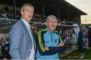 15 August 2017; Henry Shefflin, former Kilkenny hurler, left, and Liam Griffin, former Wexford hurling manager, at the sixth annual Hurling for Cancer Research game, a celebrity hurling match in aid of the Irish Cancer Society in St Conleth's Park, Newbridge. The event, organised by legendary racehorse trainer Jim Bolger and National Hunt jockey Davy Russell, has raised €540,000 to date to fund the Irish Cancer Society's innovative cancer research projects. St. Conleth's Park, Newbridge, Co Kildare. Photo by Piaras Ó Mídheach/Sportsfile