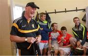 15 August 2017; Davy Russell's Best manager Brian Cody in the dressing room before the sixth annual Hurling for Cancer Research game, a celebrity hurling match in aid of the Irish Cancer Society in St Conleth's Park, Newbridge. The event, organised by legendary racehorse trainer Jim Bolger and National Hunt jockey Davy Russell, has raised €540,000 to date to fund the Irish Cancer Society's innovative cancer research projects. The final score was: Jim Bolger's Best: 7-21, Davy Russell's Stars 8-13. St. Conleth's Park, Newbridge, Co Kildare. Photo by Piaras Ó Mídheach/Sportsfile