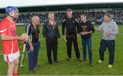 15 August 2017; Attendees, from left, Davy Russell, jockey, RTÉ pundit, Cyril Farrell, Jim Bolger, trainer, Brian Cody, Kilkenny manager, Bernard Dunne, IABA High Performance Director, and Davy Fitzgerald, Wexford manager, at the sixth annual Hurling for Cancer Research game, a celebrity hurling match in aid of the Irish Cancer Society in St Conleth's Park, Newbridge. The event, organised by legendary racehorse trainer Jim Bolger and National Hunt jockey Davy Russell, has raised €540,000 to date to fund the Irish Cancer Society's innovative cancer research projects. St. Conleth's Park, Newbridge, Co Kildare. Photo by Piaras Ó Mídheach/Sportsfile
