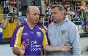 15 August 2017; Peter Canavan, former Tyrone footballer, representing Jim Bolger's Stars, left, and Wexford manager Davy Fitzgerald at the sixth annual Hurling for Cancer Research game, a celebrity hurling match in aid of the Irish Cancer Society in St Conleth's Park, Newbridge. The event, organised by legendary racehorse trainer Jim Bolger and National Hunt jockey Davy Russell, has raised €540,000 to date to fund the Irish Cancer Society's innovative cancer research projects. St. Conleth's Park, Newbridge, Co Kildare. Photo by Piaras Ó Mídheach/Sportsfile