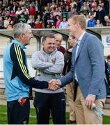 15 August 2017; Attendees, from left, Liam Griffin, former Wexford manager, Davy Fitzgerald, Wexford manager, and Henry Shefflin, former Kilkenny hurler, at the sixth annual Hurling for Cancer Research game, a celebrity hurling match in aid of the Irish Cancer Society in St Conleth's Park, Newbridge. The event, organised by legendary racehorse trainer Jim Bolger and National Hunt jockey Davy Russell, has raised €540,000 to date to fund the Irish Cancer Society's innovative cancer research projects. St. Conleth's Park, Newbridge, Co Kildare. Photo by Piaras Ó Mídheach/Sportsfile
