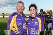15 August 2017; Damien Fitzhenry, former Wexford hurler, with Mags Darcy, Wexford camógie player, at the sixth annual Hurling for Cancer Research game, a celebrity hurling match in aid of the Irish Cancer Society in St Conleth's Park, Newbridge. The event, organised by legendary racehorse trainer Jim Bolger and National Hunt jockey Davy Russell, has raised €540,000 to date to fund the Irish Cancer Society's innovative cancer research projects. St. Conleth's Park, Newbridge, Co Kildare. Photo by Piaras Ó Mídheach/Sportsfile