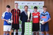 16 August 2017; Former Republic of Ireland international player Damien Duff with Under-15 club players, from left, Adam Fitzpatrick of Limerick F.C, Warren Curran of Bohemian F.C, Bryan Lynch of Sligo Rovers F.C, and Dáire Cullen of UCD F.C, in attendance at the SSE Airtricity National Under 15 League Launch at FAI HQ, Abbotstown in Dublin. Photo by Matt Browne/Sportsfile